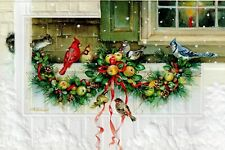 16 Embossed Boxed Christmas Cards Cardinals Blue Jays Porch Gathering