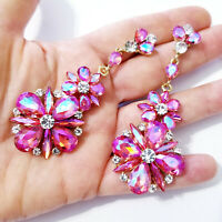 Pink AB Rhinestone Earrings, Pageant Stage Jewelry, Chandelier Drop 3.4 inch