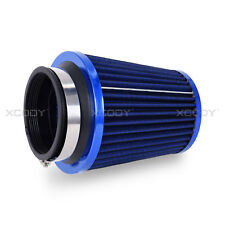 "3"" Universal BLUE INLET HIGH FLOW SHORT RAM/COLD INTAKE ROUND CONE AIR FILTER"