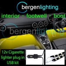 2X 500MM YELLOW USB 12V LIGHTER INTERIOR KIT 12V SMD5050 DRL MOOD LIGHTING STRIP