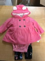 Baby GIRL Carter's PINK FLW Microfleece Jacket, Bodysuit & Pants CHECK FOR SIZE