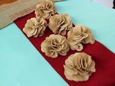 "3"" Burlap Rustic Flowers Rose (18 pcs) Chic,Wedding Decor,Craft Country, Hemp S1"