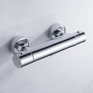 "Thermostatic Shower Mixer Valve Tap Bar Brass Bottom 1/2"" Outlet Modern //"