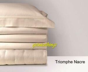 Yves Delorme Queen Flat Sheet Triomphe Nacre Cream Ivory Cotton Sateen 500TC NEW