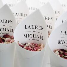 Wedding confetti cones personalised. Prestige style