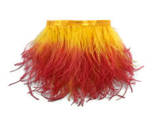1 Yard - Fiery Red Ombre Ostrich Fringe Trim Wholesale Feather Costume Dress