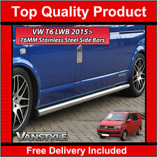VW T6 TRANSPORTER 76MM H/DUTY LWB SIDE BARS CHUNKY STAINLESS STEEL CHROME STEPS