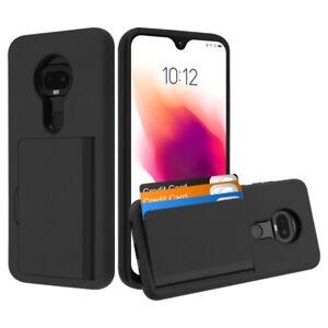 Motorola Moto G7+ Plus / T-Mobile Revvlry Plus - Black Nonslip Card Pocket Case