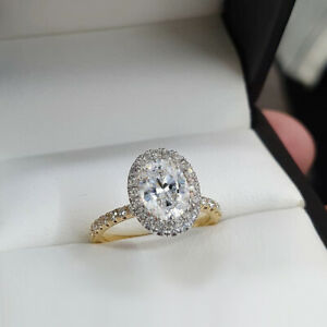 2.69 TCW Oval Cut Moissanite Halo Engagement Ring In Solid 14K Multi Tone Gold