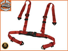 Universal Red 4 Point Car Racing Bucket Seat Belt Harness