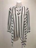 Chico's 2 Women's Size L Top White Black Striped Asymmetric Shirt 3/4 Sleeve