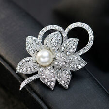 Vintage Silver Flower Brooch Pin Wedding Crystal Rhinestone Bridal Pearl Broach