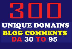 300 Unique Domains Blog Comments backlinks on DA 30 to 90 SEO Marketing Adult