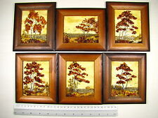 Genuine Baltic Amber Natural Hand Made Wooden Pictures #109 Lot of 6pcs