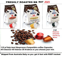 110 x Nespresso Coffee Capsules Compatible Mixed pods 3 Italy Best Roast Flavor