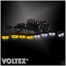 NEW VOLTEX® 8 NEW 1W VOLTEX AMBER CLEAR STROBE KIT LED LIGHTBAR GRILL LIGHT BAR