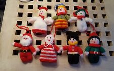 Brand New Hand Knitted Christmas Tree Decorations  X 7 Father Christmas, Angel