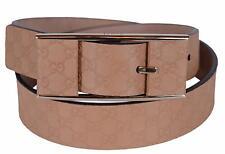 New Gucci Women's 297012 Beige Leather Micro GG Guccissima Belt 34 85 M