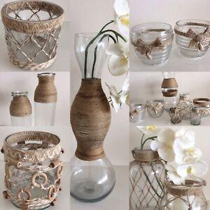 Vase Windlicht Karaffe Glas m Juteband Seil Tischdekoration Balkon Terasse Mare