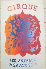 Affiche lithographie Cirque Les animaux savants clown Pop art déco