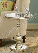 Contemporary Round Silver Pedestal Accent Table NEIMAN MARCUS Modern Stand Side