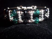Hot Tibet Silver Fashion Jewelry Green & Black Crystal Bead Bracelet B-26