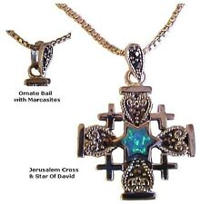 """Jerusalem Cross and Star of David with Opal and Marcasites & 18"""" silver chain"""