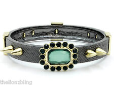 Hip Hop Urban Gothic Gray / Gold Bangle Bracelet Spikes & Green Crystal Bling