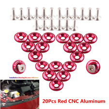 Red 20Pcs Billet Aluminum Car Body Fender Bumper Washer Engine Bay Dress Up Kit