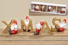 Weihnachts - Aufsteller XMAS 4 tlg. Kunstharz Dekofigur Schriftzug Advent L 35cm