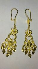 Solid beautiful 21k gold dangle earrings 6.77 grams