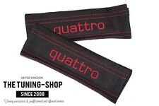 """2x Seat Belt Covers Pads Black Leather """"quattro"""" Red Embroidery for Audi"""