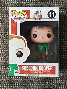 🔴FUNKO POP VINYL, SHELDON COOPER No. 11, BIG BANG THEORY, GREEN LANTERN T-SHIRT