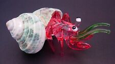 HERMIT-CRAB Natural Green Shell Tinted Red Glass Animal Curio Display Ornament