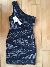 LADIES TEENS BLACK OFF THE SHOULDER LACE DRESS NWT RRT$99 UK 10 LIPSY LONDON