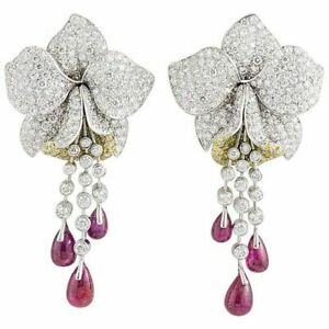 Tiny White Round Studded Flower Red Cabochon Drop Statement Floral Fine Earrings