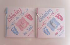Einladungskarten mit Namen, Einladung zur Taufe, 3D, Baby, Taufkerze, Zwillinge