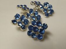 Blue Glass Rhinestones Square Silver Metal Buttons, Bridal Embellishment. x 10