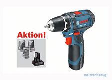 Bosch GSR 10,8-2-LI Akkuh-Bohrschrauber inkl. 2 Akkus + Bohrer-Sätze + Tasche