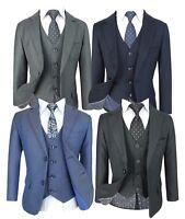 Boys 5 Piece Regular Fit Formal Suits, Kids Wedding Prom Communion Suit Age 1-14