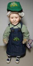 Porcelain Country Farmer Erica Granny Doll w Farm Tractor on overalls hat Le Coa