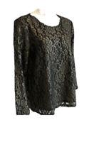 Chico's Woman's Foil Lace Top SIZE 2 LARGE (12) Black Gold Lace Knit Shirt NWT