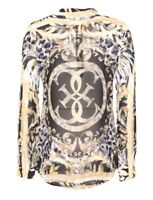 GUESS Damen Langarm Bluse Shirt beige braun Leo Blumen Print S-XL NEU ETIKETT!
