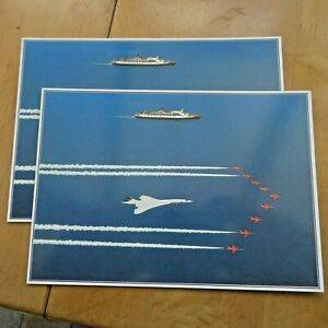 2 LARGE OVERSIZED POST CARD QE2, CONCORDE, RED ARROWS MARINE ART NEW UNUSED