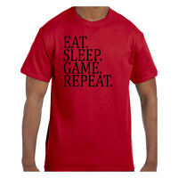 Funny Humor Tshirt Eat Sleep Game Repeat Sports Short or Long Sleeve