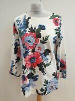 Q351 WOMANS JOULES MULTICOLOUR FLORAL LONG SLEEVE STRETCH PULLOVER TOP UK 12