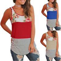 Women's Casual Floral Stripe Print Patchwork Sleeveless Tank Tops Vest Blouse