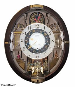 Rare SEIKO QXM289B 12 Melodies in Motion Wall Clock-Christmas Music-MISSING GLAS