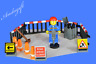 LEGO road workman roadworks traffic cones fence signs tools broom shovel NEW