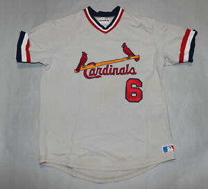 Vintage 1980's St. Louis Cardinals Stan Musial Sand Knit size 46 baseball jersey